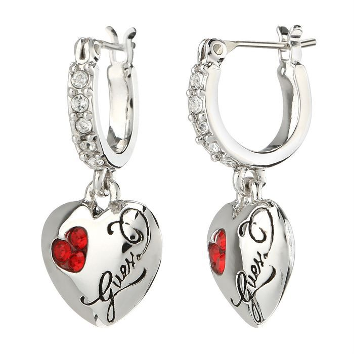 guess boucles d 39 oreilles femme argent blanc et rouge achat vente boucle d 39 oreille guess. Black Bedroom Furniture Sets. Home Design Ideas