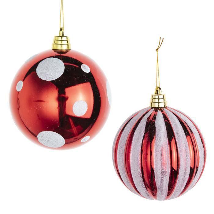 Lot de 2 boules de Noël grande taille D15cm rouge à pois blancs et