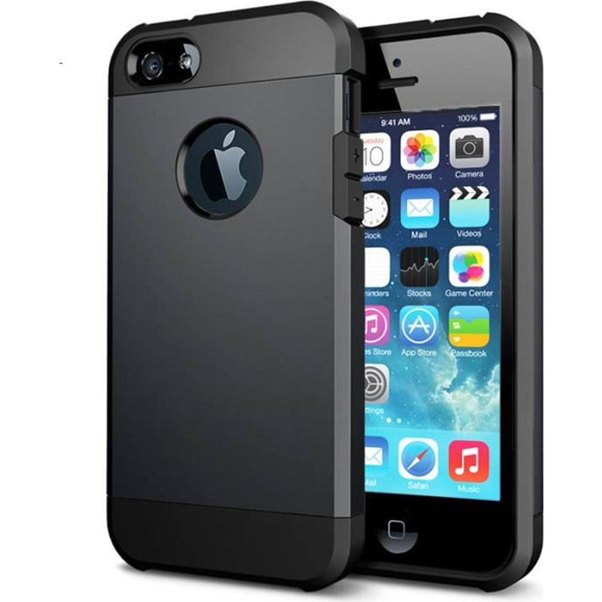 coque etui antichoc armor pour iphone 4 4s noir coussin d. Black Bedroom Furniture Sets. Home Design Ideas