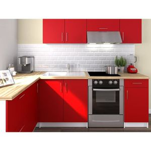 CUISINE COMPLÈTE OBI Cuisine complète d'angle L 280 cm - Rouge mat