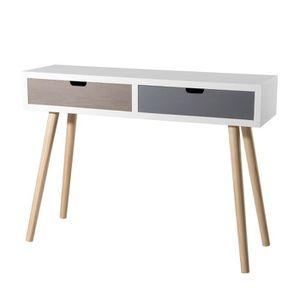 CONSOLE Console scandinave blanc, gris et marron + pieds b