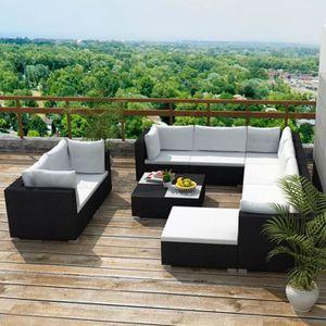 Ensemble table et chaise de jardin Jeu de canapé de jardin 32 pcs Noir Résine tressée