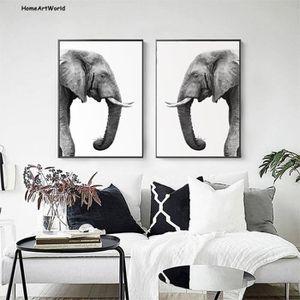OBJET DÉCORATION MURALE Éléphant Animal Affiche Nordique Simple Noir et Bl