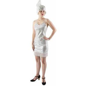 DÉGUISEMENT - PANOPLIE Déguisement Charleston femme robe blanc et argent