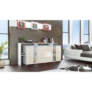 BUFFET - BAHUT  Buffet design vitré blanc et crème avec led 185 cm