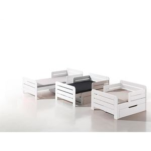 STRUCTURE DE LIT JUMPER Lit évolutif enfant avec tiroir blanc