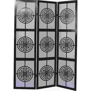 PARAVENT Paravent japonais bois noir avec motifs geometr...
