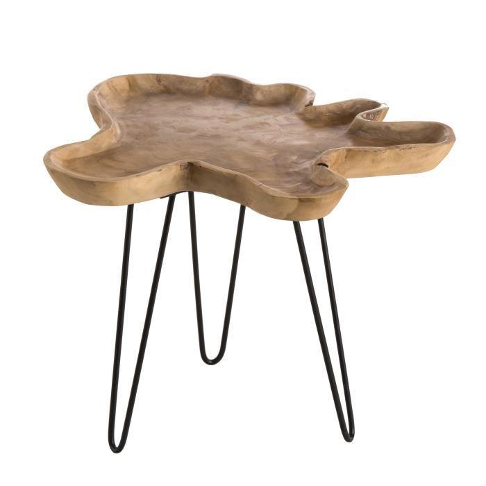 table d appoint ethnique en bois teck massif natur
