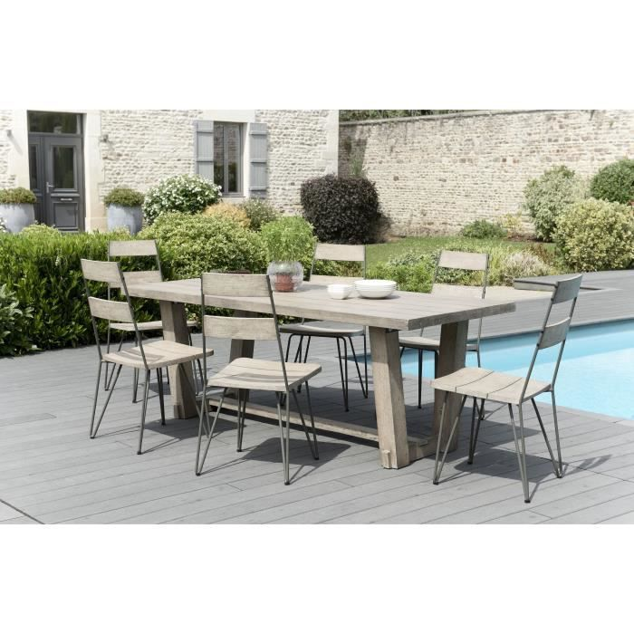 Ensemble de jardin en teck : 1 table à manger rectangulaire- 3 lots de 2 chaises scandinaves en teck et métal JARDITECK