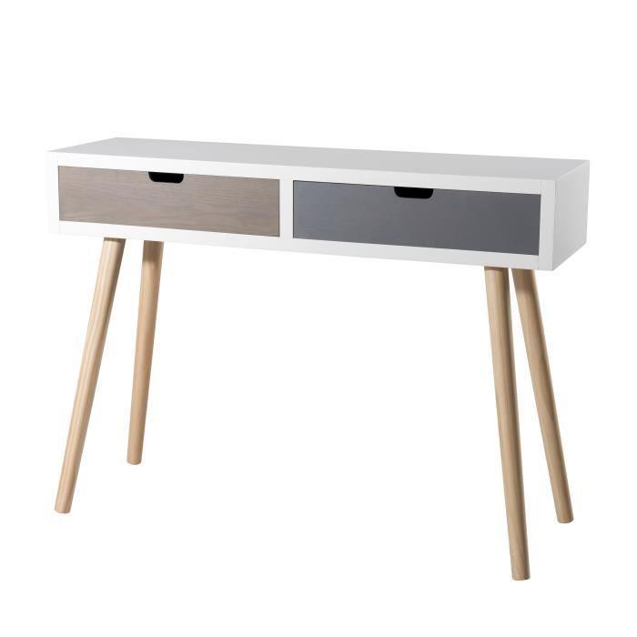 Console scandinave blanc, gris et marron + pieds bois pin massif - L 110 cm