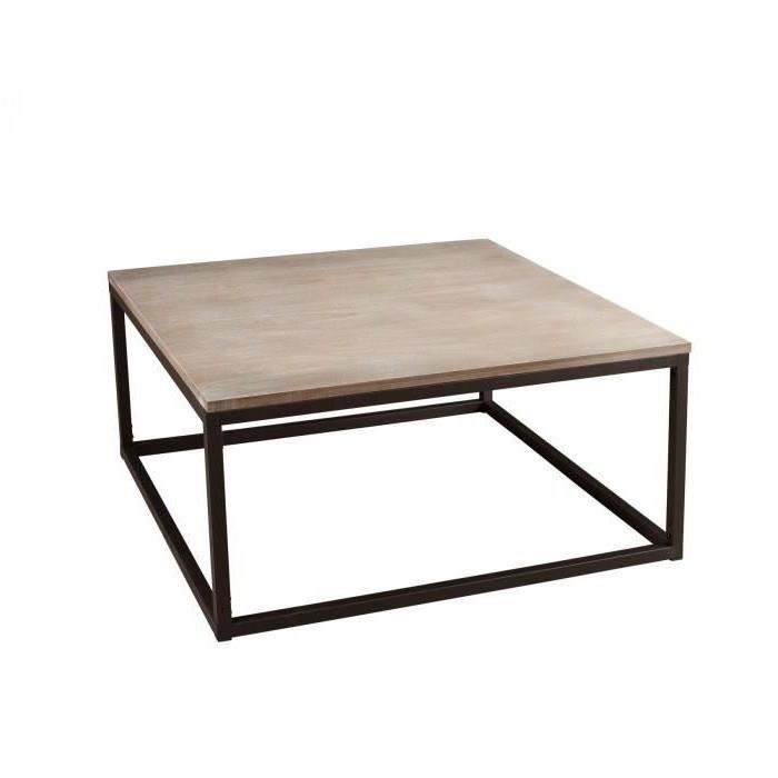 Table Basse Industrielle Carree Metal Et Bois 90x90x44 Lali