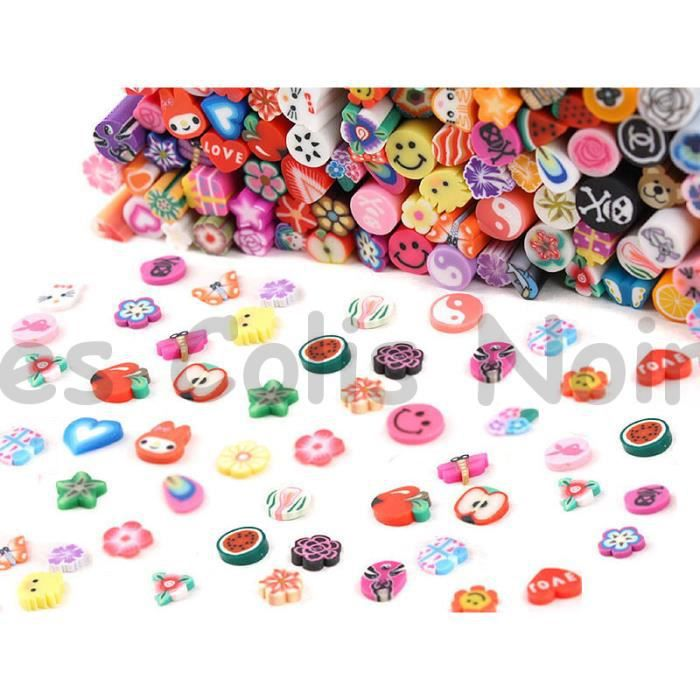 Lot de 100 Canes Cannes FIMO Ongles Nail
