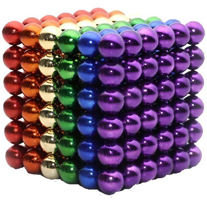 Billes Magnétiques Anti-Stress, 216 Magnet Balls, Billes Aimantées 5mm, 6 couleurs