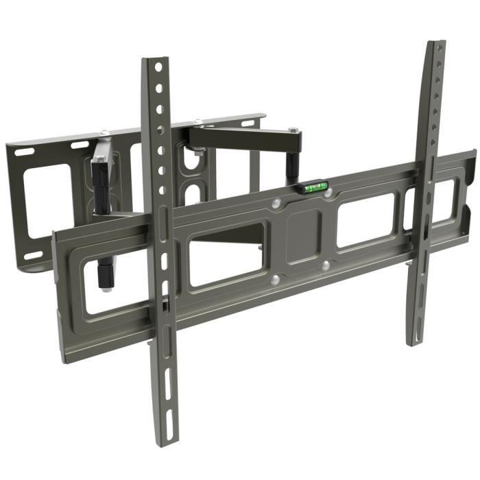 Support Mural pour TVs Plats et Courbes de 32-70 Pouces, Mouvement Complet avec Double Bras Capable à Tenir 50 kg, Max. VESA