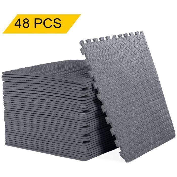 48PCS Tapis de Protection de Sol Tapis Puzzle en Mousse EVA Tapis Mousse de Sol Tapis de Gym Matelas Puzzle 60 * 60*1cm ,gris