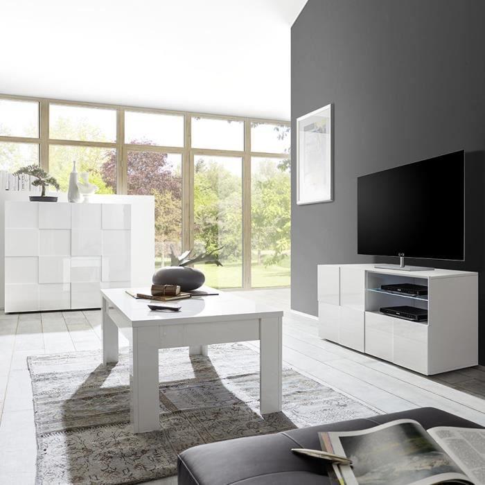 Ensemble TV design blanc laqué SANDREA Blanc L 242 x P 42 x H 111 cm
