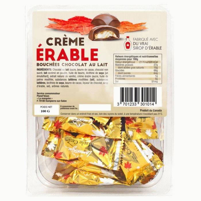 Chocolats au lait fourrés à la crème d'érable -100g