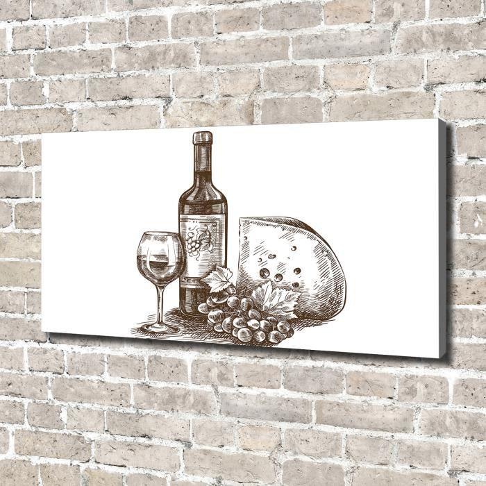 Tulup 140x70 cm art mural - Image sur toile:- Nourriture boissons - Vin Collations - Noir blanc