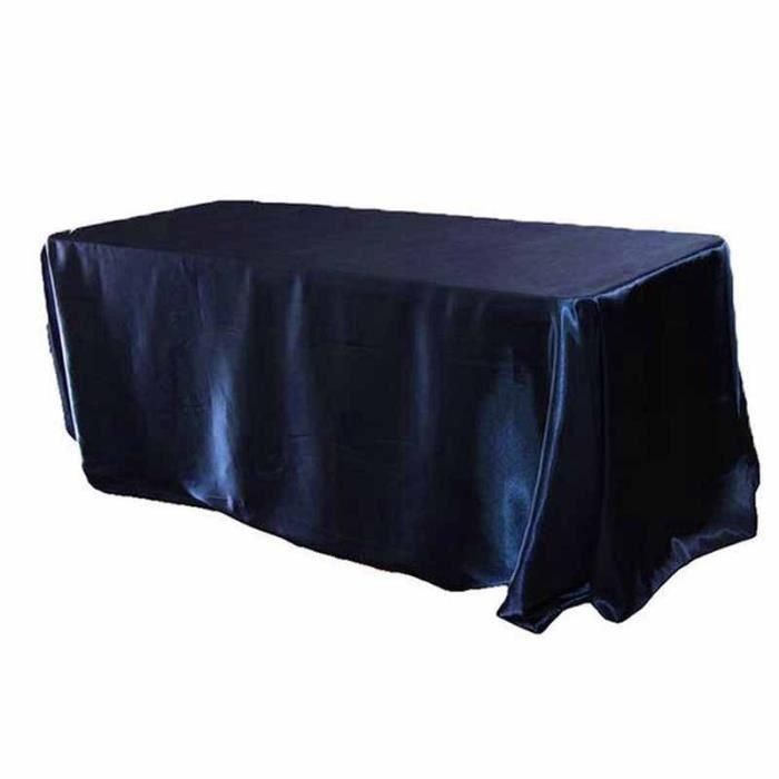 Navy Blue 305cm round-120inch -Nappe de Table en Satin noir, 228x335cm, nappe rectangulaire blanche pour fête, Banquet, hôtel, décor