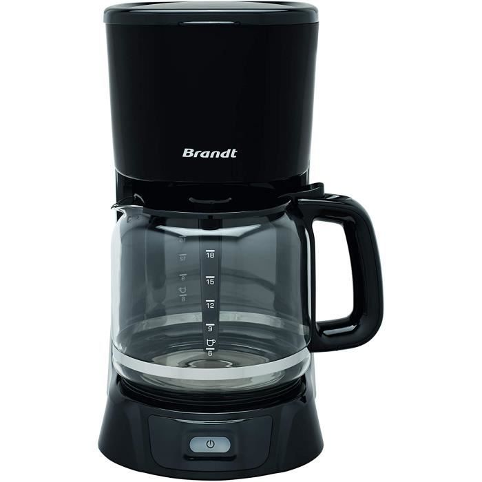 Brandt CAF1318 – Cafetière Filtre Électrique – Capacité 18 Tasses – Réservoir 1,8L – Verseuse en Verre — Fonction Maintien au Chaud