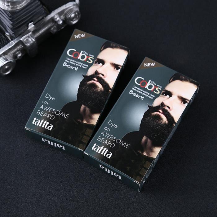 Moustache & Barbe Teinture Crème Teintée Noire Couleur Naturelle avec 1 Paire de Gants Jetables Noir A 30 ml