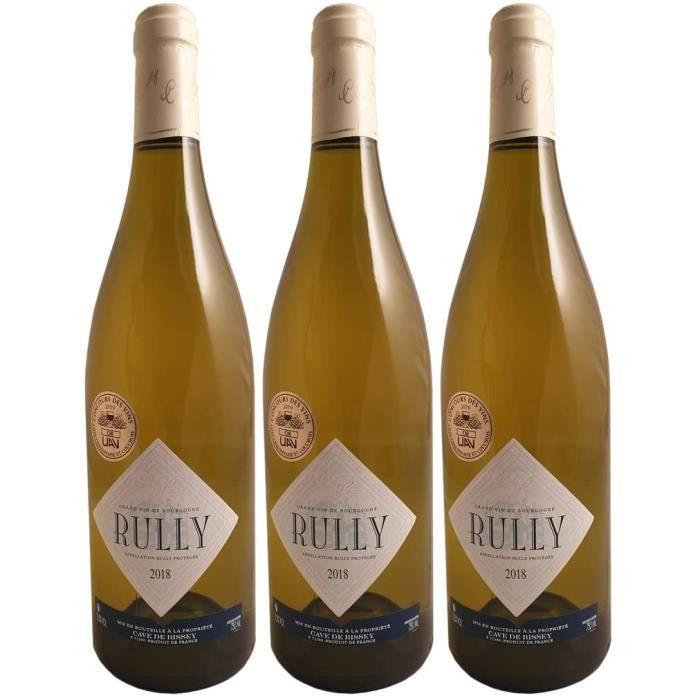 Rully Blanc 2018 - Cave de Bissey - Vin AOC Blanc de Bourgogne - C&eacutepage Chardonnay - Lot de 3x75cl - M&eacutedaille d'Or487
