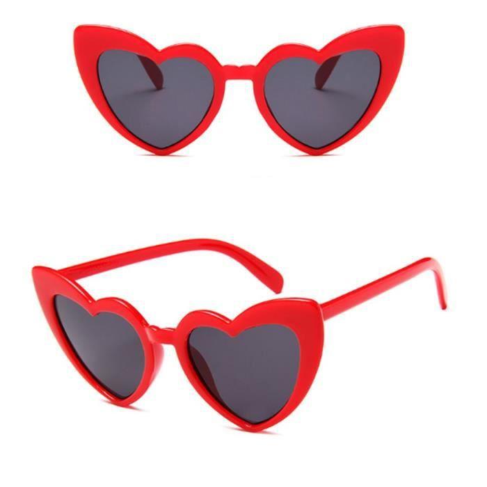 Lunettes de Soleil adulte,SEKINEW lunettes de soleil love en forme de cœur, tendance mignonne, montures de conducteur - Type Rouge