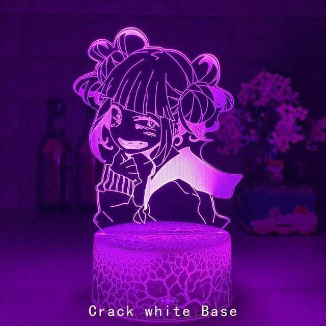 Lampe à poser,Lampe à l'effigie de MY HERO ACADEMIA Himiko Toga en 3D,luminaire décoratif - Type 16 Color Remote-Crack white
