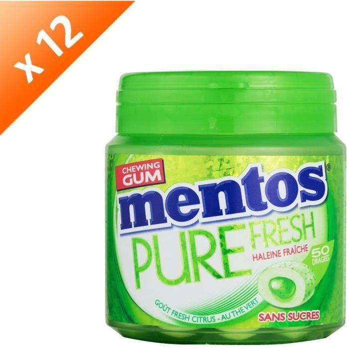 [LOT DE 12] MENTOS GUM PURE FRESH Bottle de 50 dragées sans sucres - Fresh citrus
