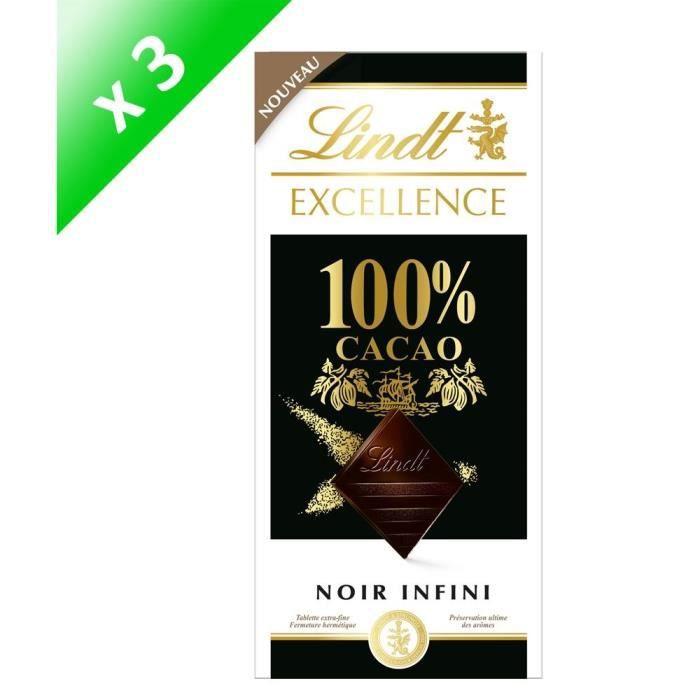 [LOT DE 3] LINDT Excellence Tablette de chocolat Noir 100%
