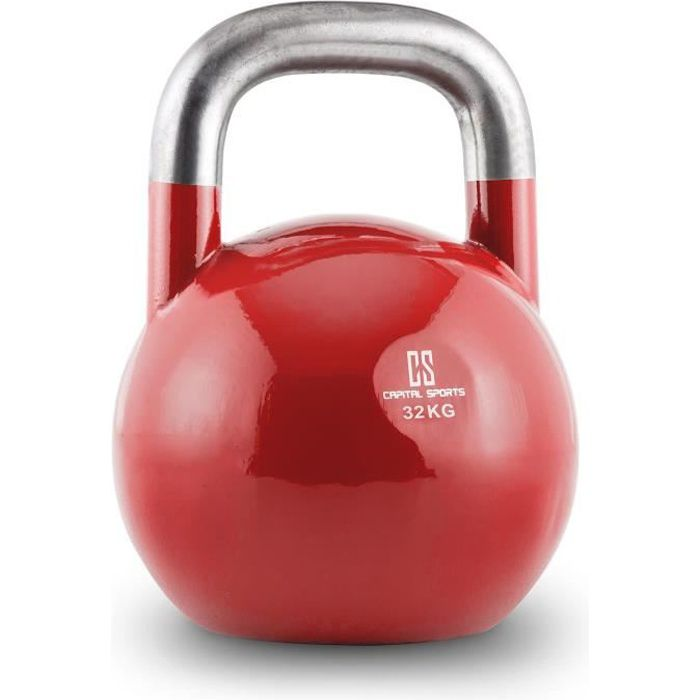 Capital Sports Compket 32 Kettlebell haltère poids acier 32kg -rouge