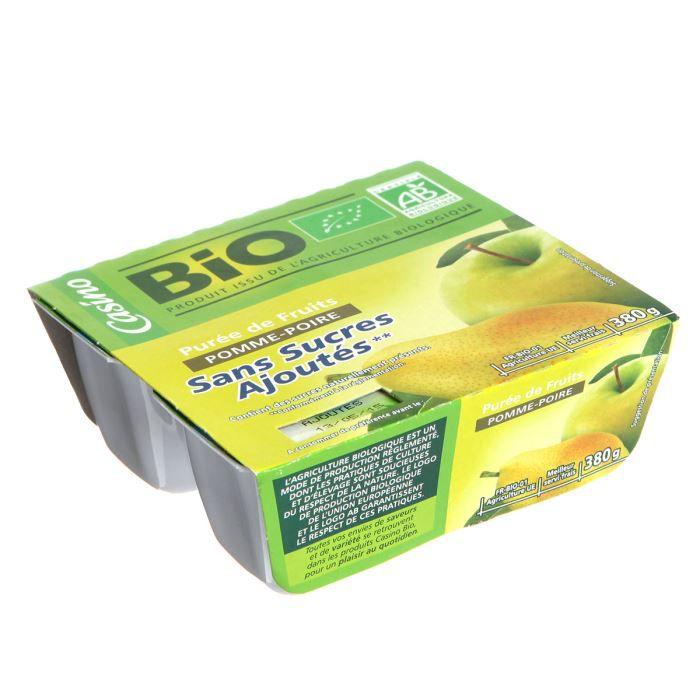 CASINO Purée Pomme Poire Bio 4x95g