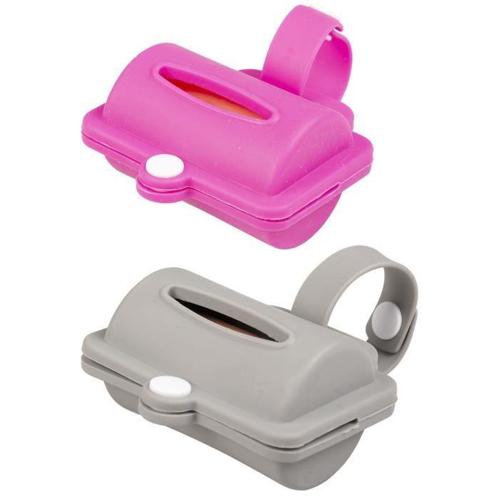 DUVO Distributeur de sachets à déjections Sachet Hygienic Dispenser Silicone 8,2 cm - 10 sachets - Gris ou rose - Pour chien