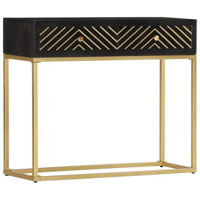 OUI Table console Noir et doré 90x30x75 cm Bois de manguier massif