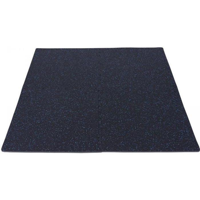 Tapis de protection en caoutchouc noir-bleu - 4 dalles + 8 embouts de finition