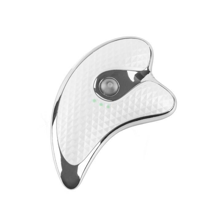 Planche à racler à micro-courant, grattage de chauffage par vibration électrique, massage facial, visage amincissant-WHITE
