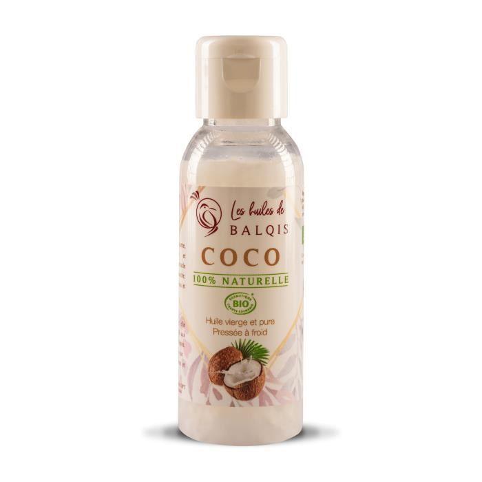 Huile de Coco Bio, Spéciale hydratation et réparation : CHEVEUX, PEAU et VISAGE 100% naturelle, pure, pressée à froid 50mL