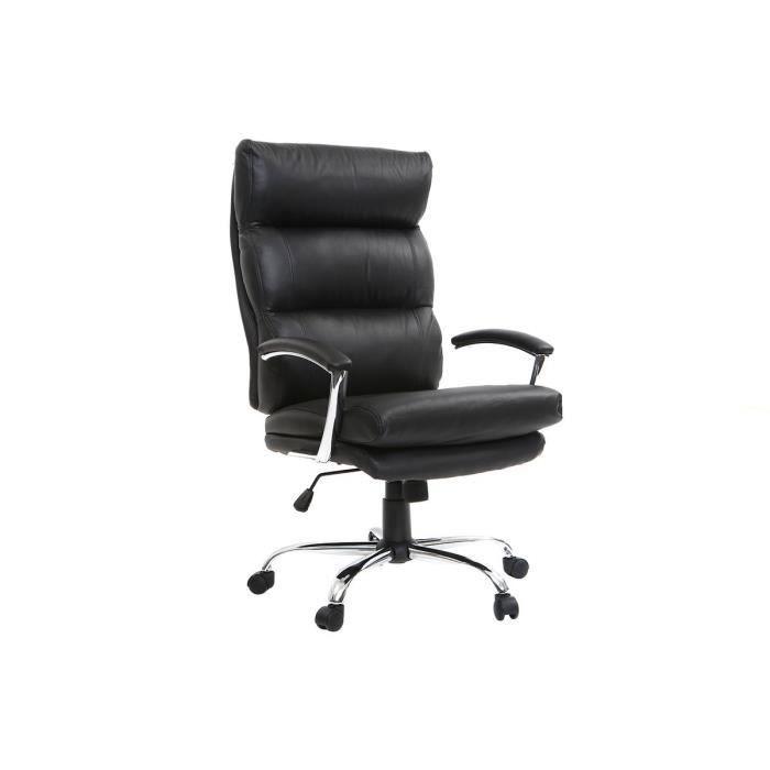 Miliboo - Fauteuil de bureau design cuir noir TILIO