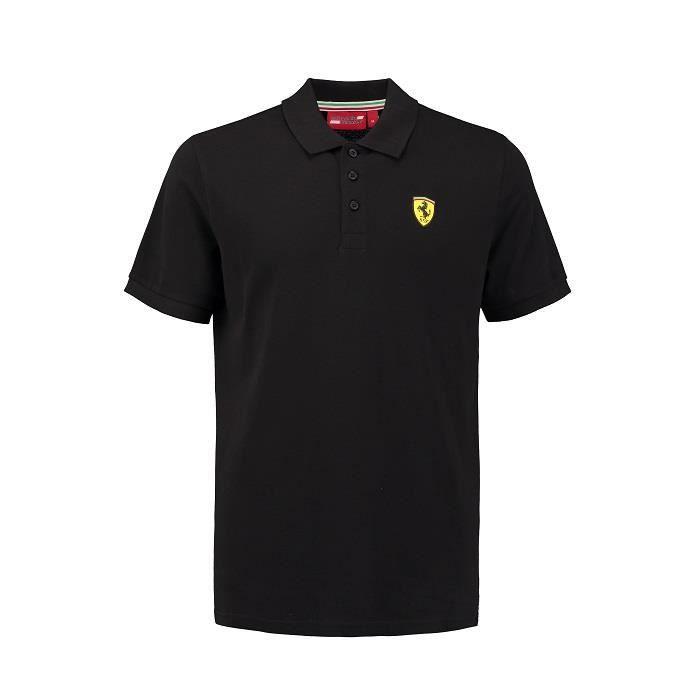 Polo FERRARI Classic noir avec badge pour homme