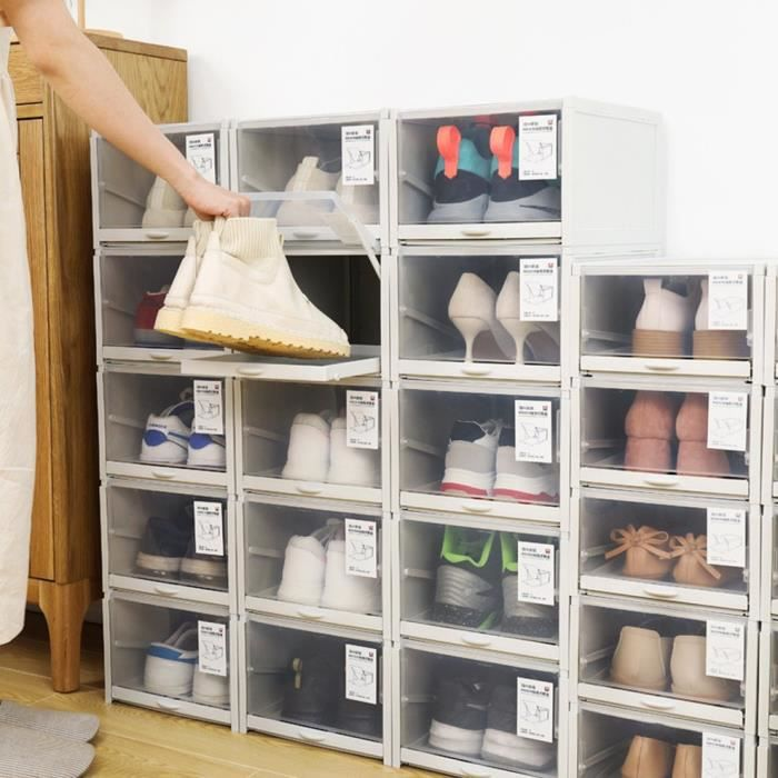 Boîte de rangement de chaussure de type poussoir et tirer de tiroir en plastique transparent empilable, gris