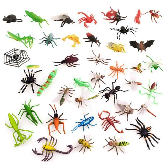 39 pièces modèles d'insectes en plastique durables simulés jouets accessoires de farce animaux pour la fête ANIMAL VIRTUEL