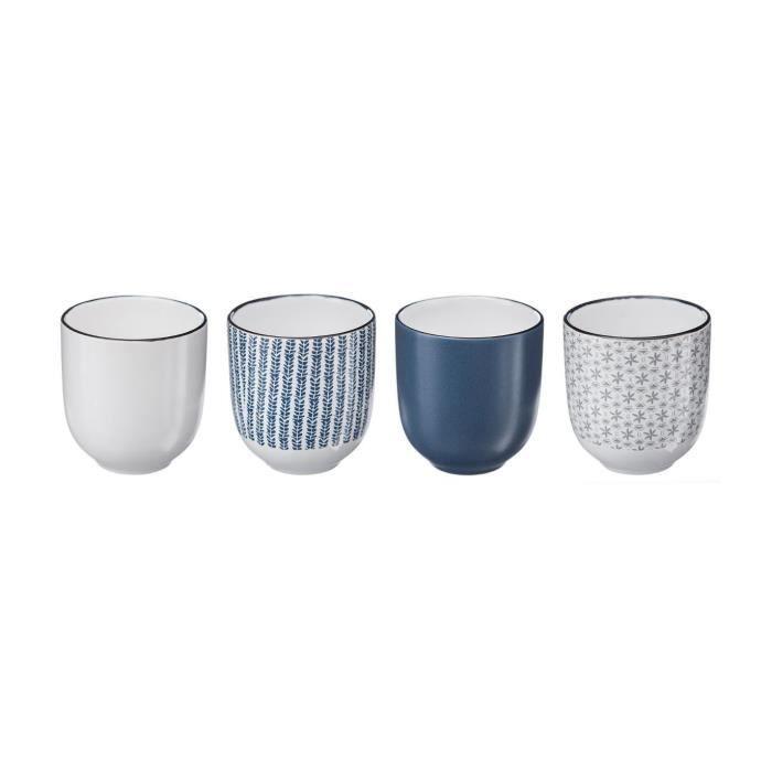 Secret de Gourmet - Coffret de 4 Tasses Japonaise 11 cl Bleu/gris