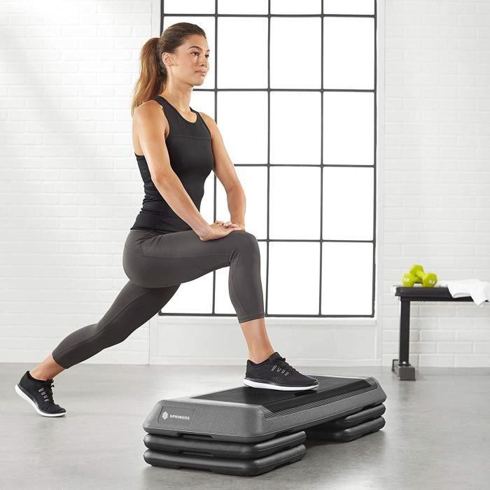 SPRINGOS® Aérobic Stepper, Réglable Stepper d'exercice, 3 niveaux de hauteur, antidérapant - Noir