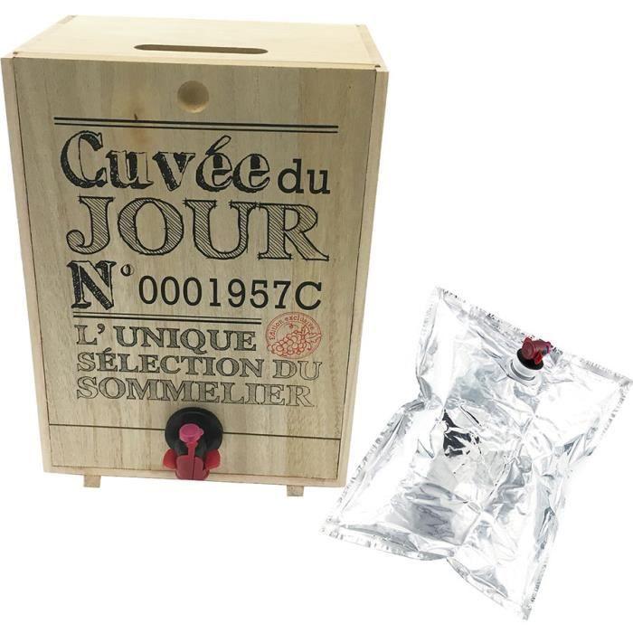 Tonneau à Vin Rectangulaire - Distributeur de Vin - 5 Litres - Poche en Aluminium incluse - Cuvée du Jour