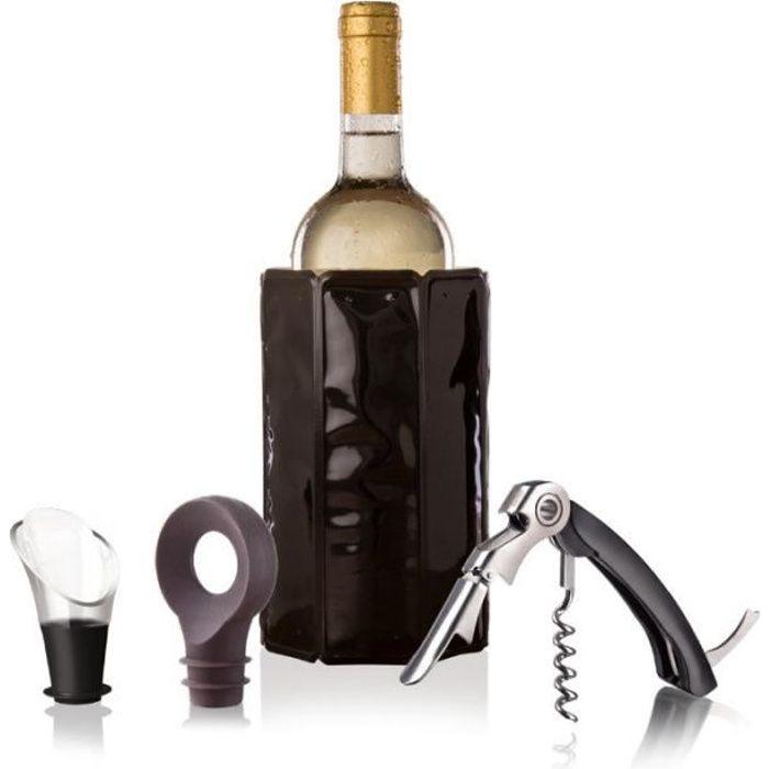 Coffret accessoires vin Wine set classic Tire-bouchon sommelier + rafraîchisseur +serveur anti-goutte + bouchon