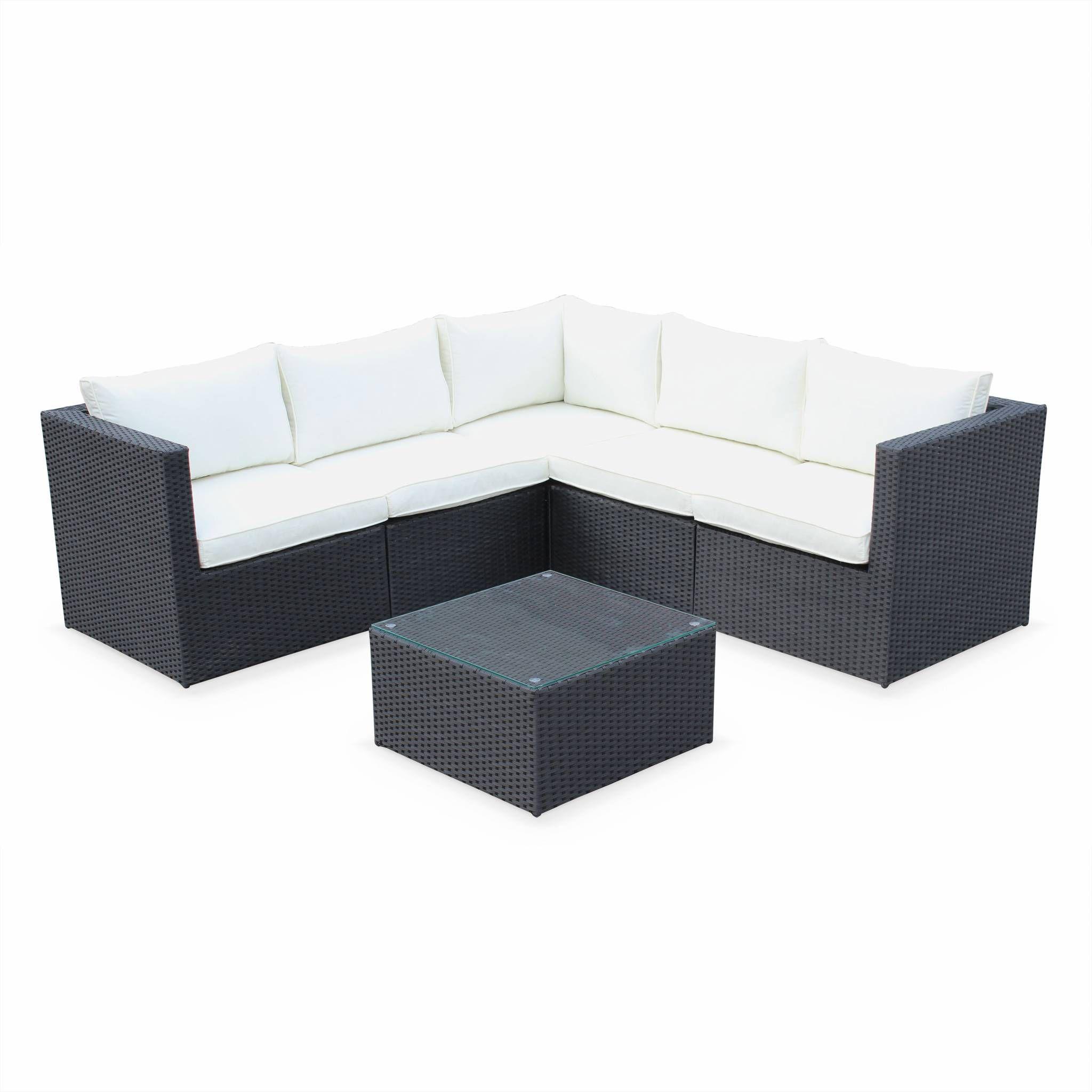 Ensemble table et chaise de jardin Salon de jardin Siena Noir, en résine tressée noir