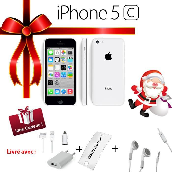 apple iphone 5c blanc 8go pack ecouteurs smartphone. Black Bedroom Furniture Sets. Home Design Ideas