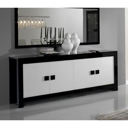 buffet bas pisa noir et blanc achat vente buffet bahut buffet bas pisa noir et b bois. Black Bedroom Furniture Sets. Home Design Ideas