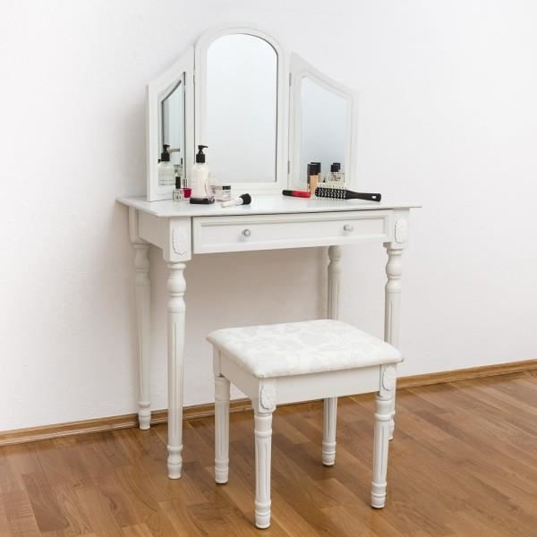 Coiffeuse blanche table maquillage tabouret miroir achat vente coiffeuse - Coiffeuse blanche avec miroir ...