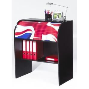 bureau pour enfant cylindre 84 8 cm noir drapeau anglais achat vente bureau bureau. Black Bedroom Furniture Sets. Home Design Ideas